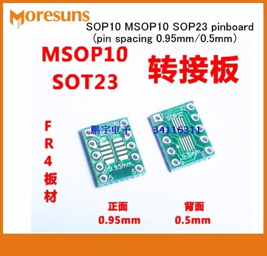 Fast Free Ship 50pcs/lot Sot23 Msop10 Umax Turn Dip10 Adapter Plate 0.5mm 0.95mm Spacing Pinboard