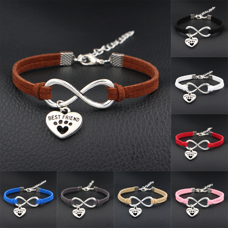<font><b>Dog</b></font> is My Best Friend & <font><b>Dog</b></font> <font><b>Paw</b></font> Prints Heart Charms <font><b>Bracelet</b></font> Antique Silver Color Love Infinity Leather <font><b>Bracelets</b></font> For Women image