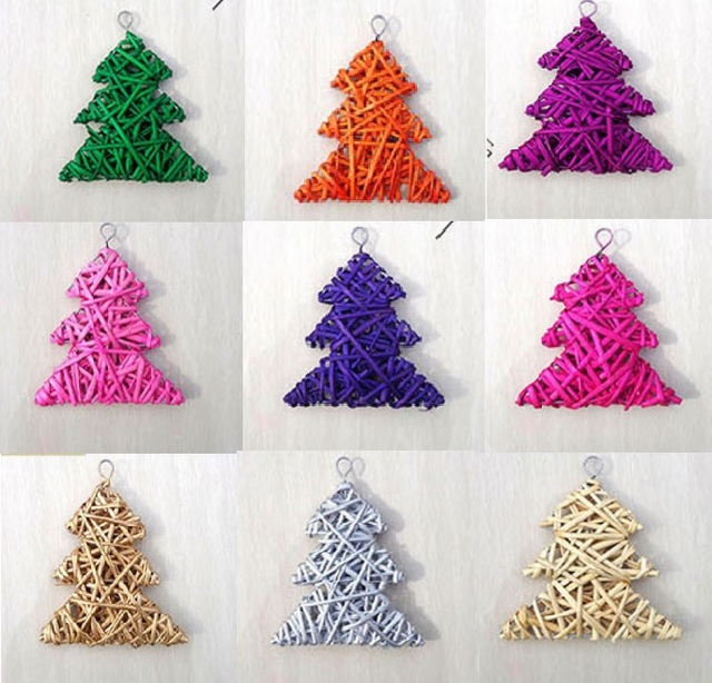 10pcs 15cm christmas tree rattan wick hanging ornament diy ornament