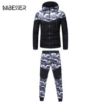 NIBESSER 2 Piece Set Camouflage Men Jacket Suit Patchwork Long Sleeve Zipper Hooded Jacket Hiphop Suit