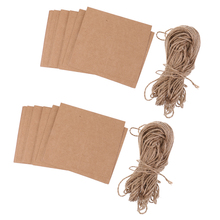 100x Brown Kraft Paper Blank Card with Twine Bow Rustic Wedding Place Name Card
