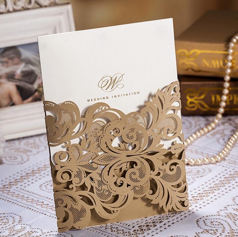 100pcs Gaya Barat Bunga Renda Bunga Corak Kad Jemputan Perkahwinan, - Barang-barang untuk cuti dan pihak - Foto 2