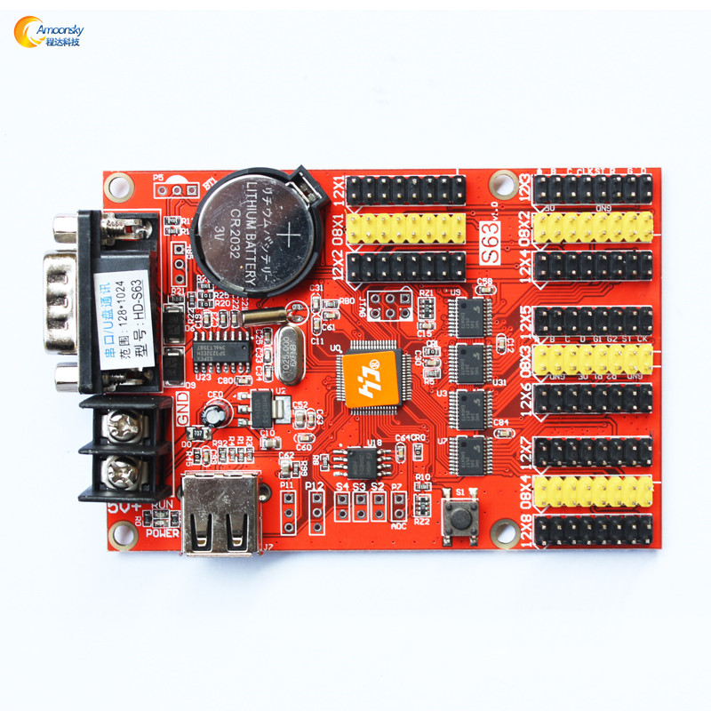 red green blue led screen hd-s63 control card for led business sign smd led display module outdoor