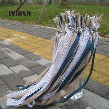 50pcs/lot  Jute WeddingWands with white lace and big sliver Bells For Wedding Decoration