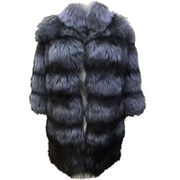 Real Fox Fur Jacket Long Sleeve Black Brown Color Striped Knitted Fox Fur Outwear For Women