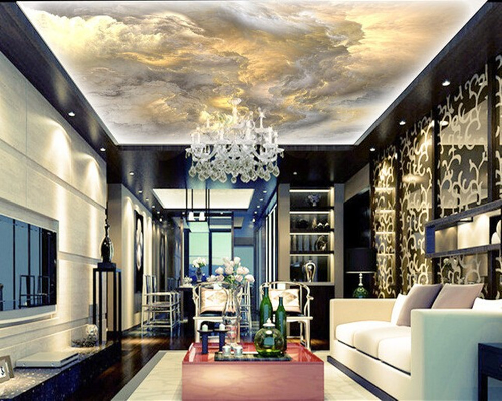 Custom ceiling wallpaper, the sky is used for apartment, house, office or retail space background wall waterproof wallpaper custom ceiling wallpaper blue sky and white clouds murals for the living room apartment ceiling background wall vinyl wallpaper