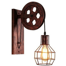все цены на Wall Lamp Loft Retro Light Pendant Suspension Light Lifting Pulley Restaurant Aisle Pub Cafe Light bra Sconce Lantern Fixture онлайн