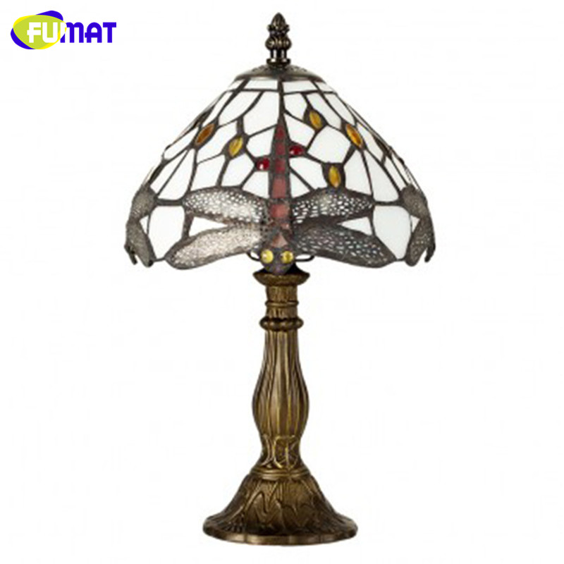 FUMAT Glass Art Table Lamp European Style Stained Glass Dragonfly Lamp Brief Living Room Bar Stand Lightings Light Fixtures