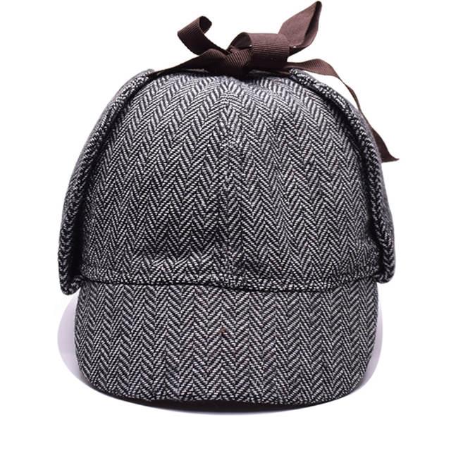 b2e69c1b IOTTG High Quality Cosplay Cap Detective Sherlock Holmes Deerstalker Hat  Gray Cups New Berets Cap Vestidos -in Men's Berets from Apparel Accessories  on ...