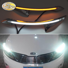 For Kia K2 Rio 2011 2012 2013 2014 , LED Headlight Brow Eyebrow Daytime Running Light DRL With Yellow Turn signal Light auto car led light white amber drl daytime running light daylight turn signal for kia k2 2010 2011 2012 2pcs set free shipping