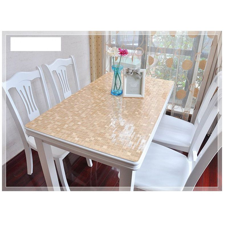 Sm 1mm 6060cm Brown Check Soft Glass Crystal Plate Dining