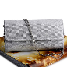 Fashion Women Evening Shoulder Bag Bridal Clutch Shining Sequins Silk Bottom Elegant Prom Party Wedding Envelope Lady Long Bag