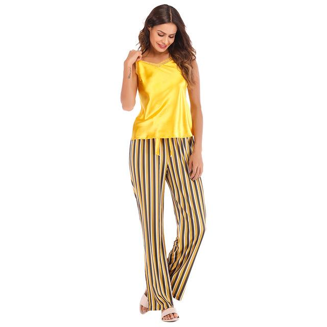 Women's Sleeveless Striped Yellow Pajamas