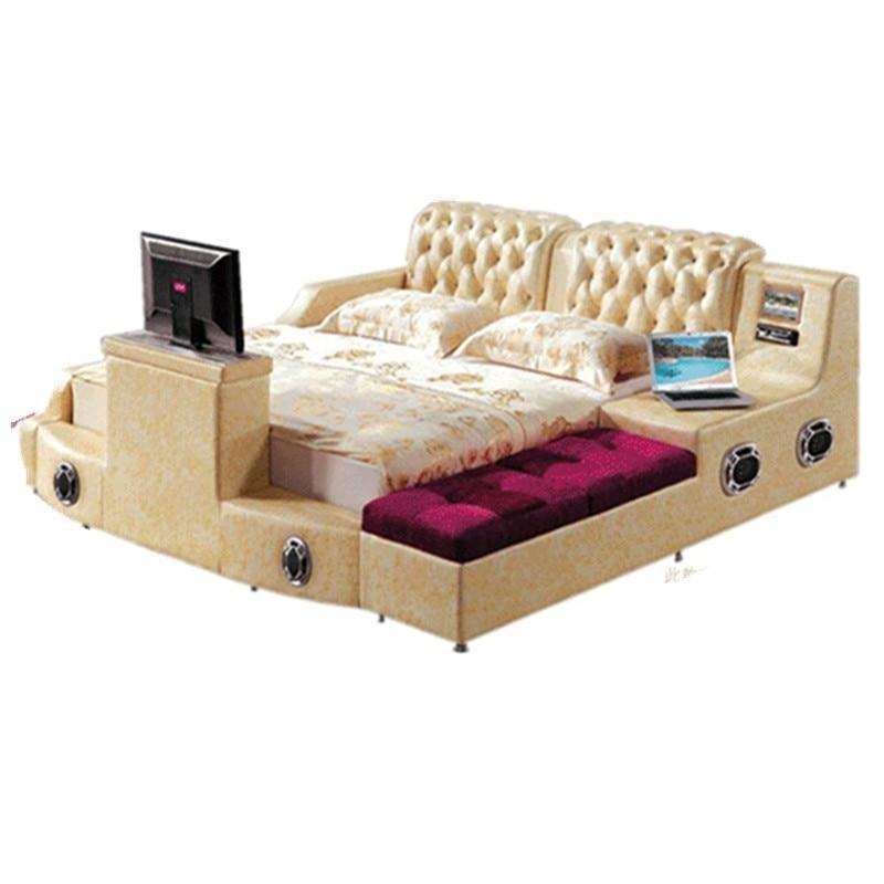 Massage-Speaker Bed-Tv Soft-Beds Lit Bedroom Bluetooth Real-Genuine-Leather Camas Yatak