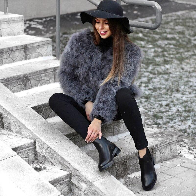 Donna ฤดูหนาวรองเท้าผู้หญิงหนังขนสัตว์ธรรมชาติหิมะรองเท้าผู้หญิงสีดำกันน้ำแพลตฟอร์มส้นสูงสำหรับสุภาพสตรี-ใน รองเท้าบูทหุ้มข้อ จาก รองเท้า บน   2