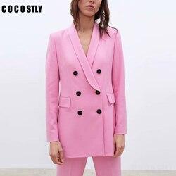 Женский розовый пиджак, деловой Блейзер 2019, двубортный Женский блейзер с карманами, офисный деловой костюм, верхняя одежда