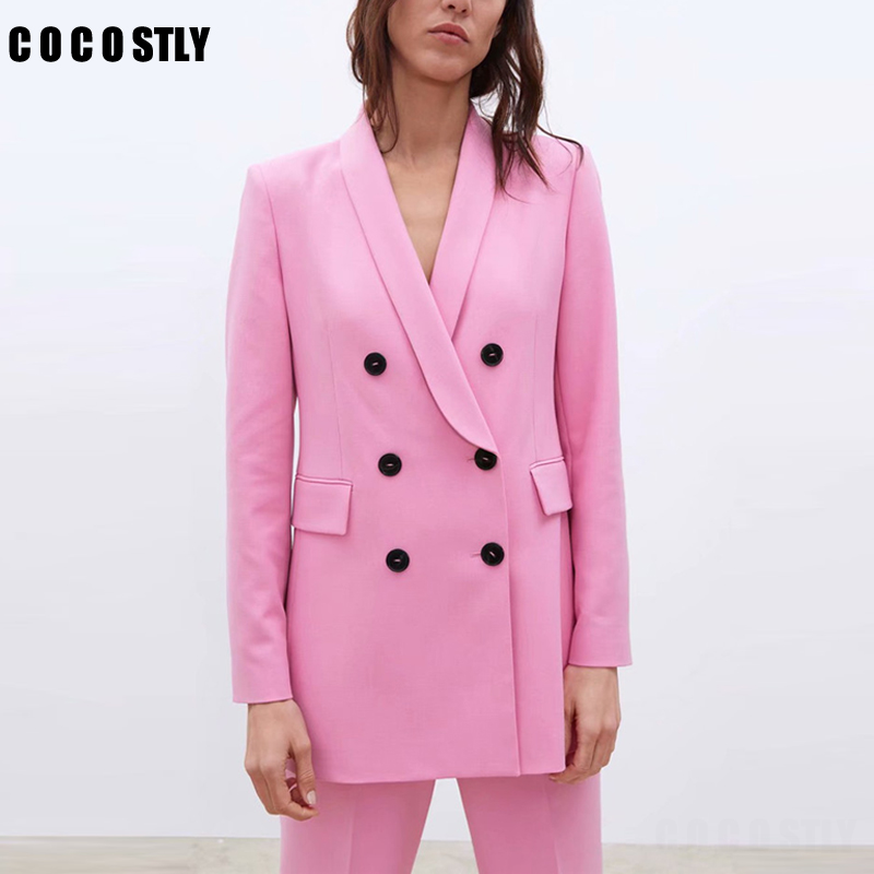 Women Pink Suit Jacket Formal Blazer 2020 Double Breasted Pocket Women Blazer Work Office Business Suit Outwear