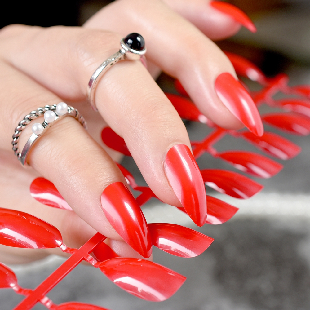 24pcs red candy color short stiletto
