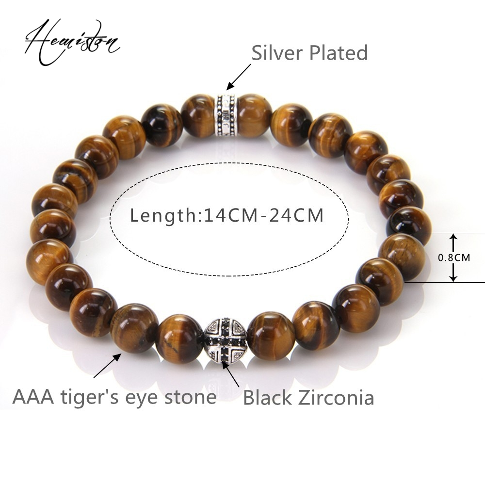 Hot Thomas AAA Tiger's Eye Beads Elastic Bracelet with Cross Hero - Fashion Jewelry - Photo 3