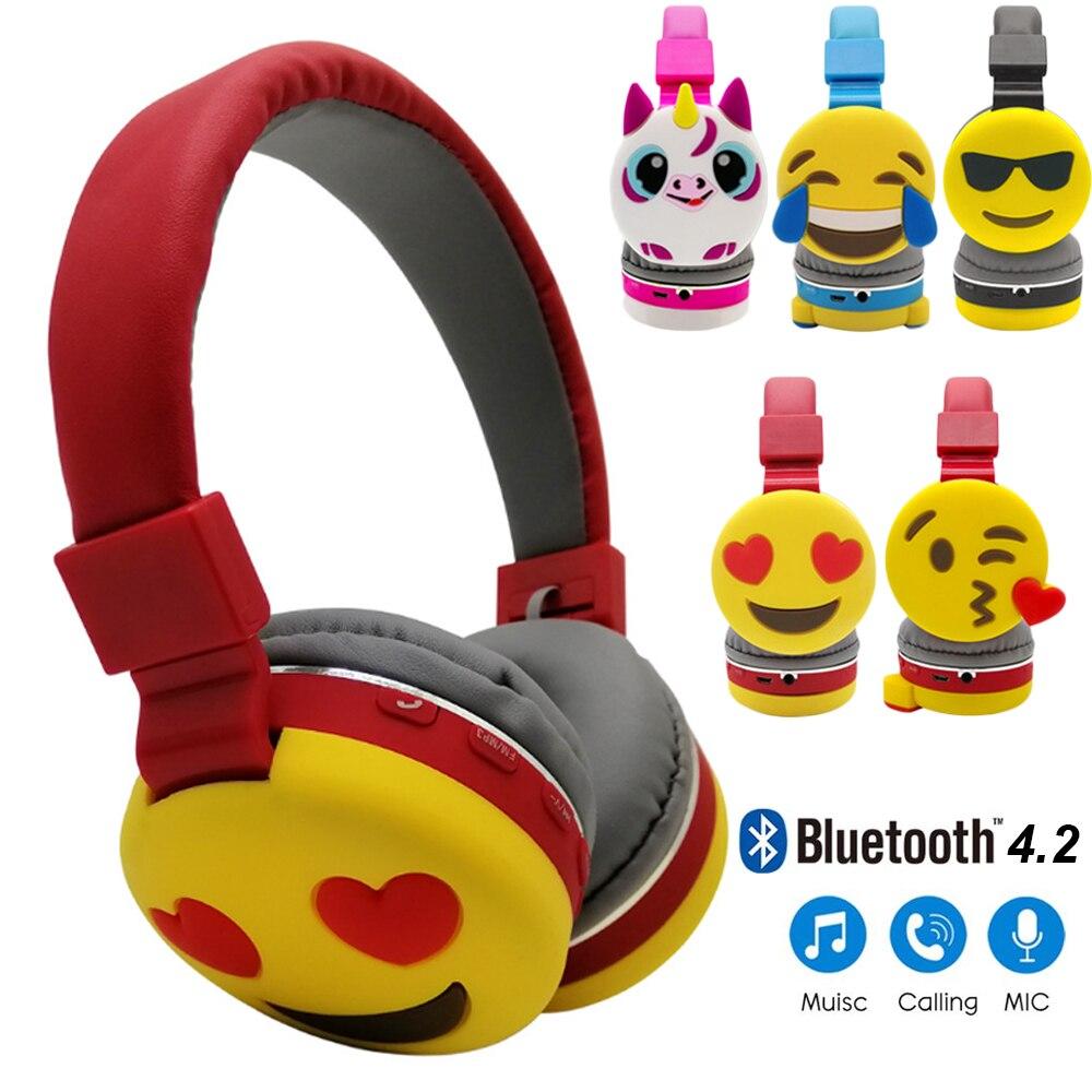 JINSERTA Bluetooth Kids Headphone Foldable Stereo Music Headset Emoji  Earphone with MIC for Answering the Phone 3 5mm Jack