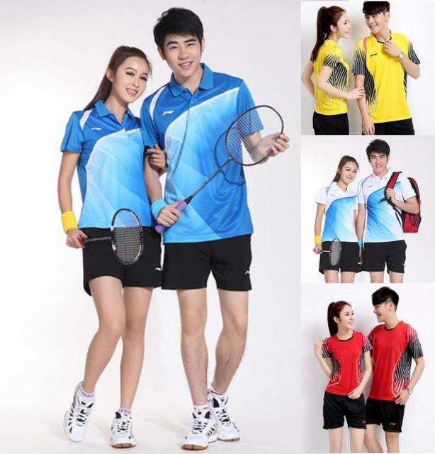 148473c8f 2015 New Arrival Badminton Shirt And Short Polyester Adult Unisex Badminton  Clothing Sets Couples Men Women Sport Suit