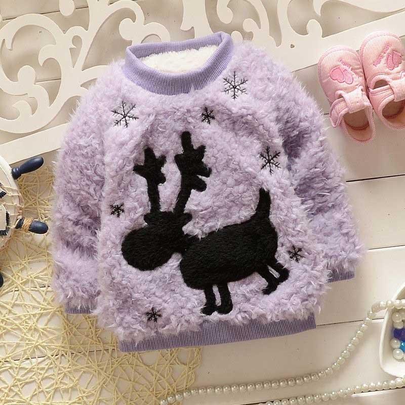 Warm Winter Aniaml Deer Snowflake Baby Fleece Velvet Knitwear Kids Girls Sweater Thicken Outwear Pullover Tops S2126 шапка lil kings classic red