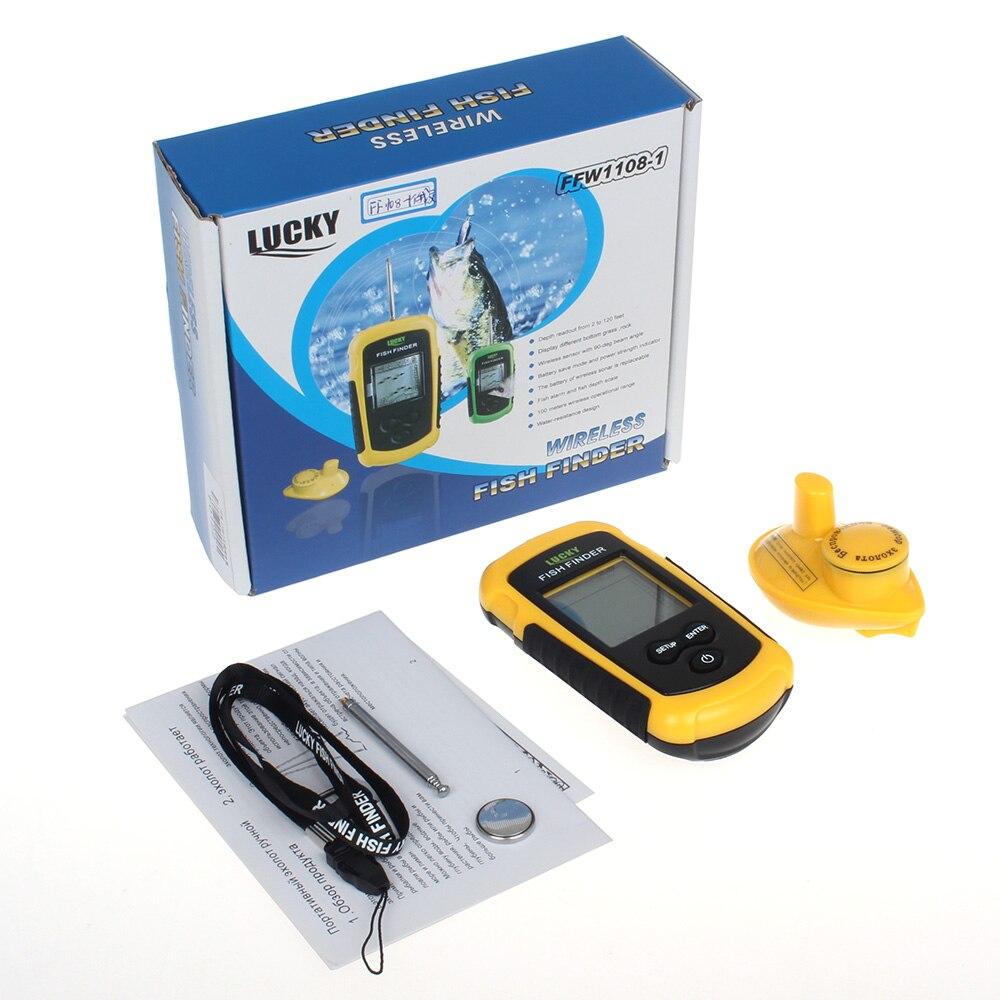 Suerte FFW1108-1 buscador de peces alarma inalámbrica Fishfinder 125kHz 90 grados eco sirena 40 M/130FT echosonda profundidad sonar para la pesca - 6