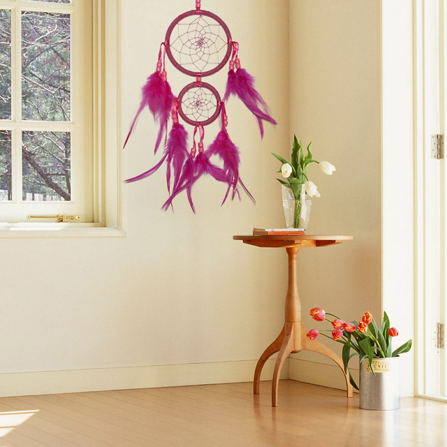 NEW Rose Red Dream Catcher 2 Rings with Feathers Hanging Decoration ...