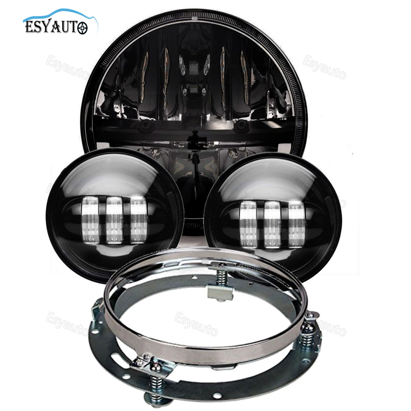 все цены на 7 Inch LED Daymaker Headlight + 4.5 Inch Passing Auxiliary Fog Lights with Mount Bracket Ring for Harley Davidson Motorcycle онлайн