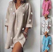 цена на Polka Dot Dress T Shirt Dress Vestiti Donna Women Summer Plus Size Xxxxl Xxxxxl White Pink Jurken Long Sleeve Sukienki 2019