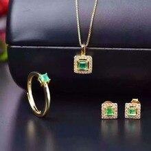 Винтажный Изумрудный комплект ювелирных изделий 3 мм принцесса огранка кольцо с натуральным изумрудом серьги ожерелье кулон твердый Серебряный изумруд комплект ювелирных изделий