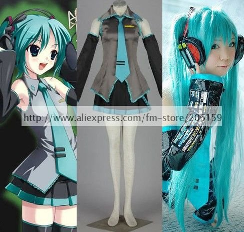 Anime Vocaloid Cosplay Hatsune Miku Costume With Ponytails Wig Set Sleeveless Women Clothing For Halloween With Tie
