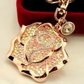 Free Shipping! Hot Sale Sexy Crystal Rose Flower Car keychains Keyrings Car Jewelry Accessory for Women Female