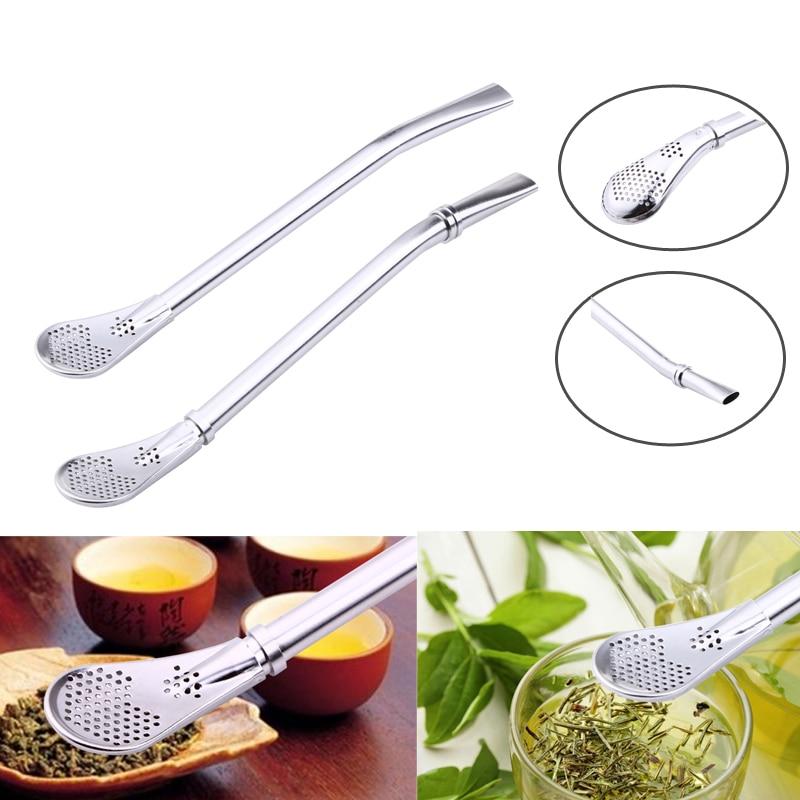 Stainless Steel Drinking Straw Spoon Tea Filter Yerba Mate