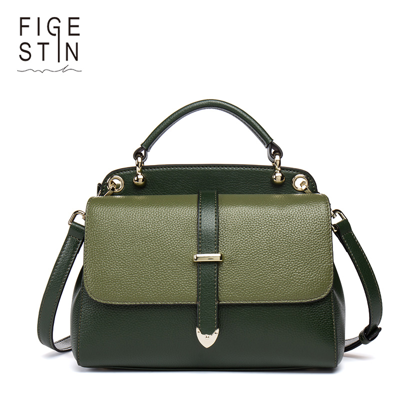 FIGESTIN Women Leather Handbags Bags For Teenager Girls Panelled Messenger Bags Female Vintage Shoulder Bags Solid Crossbody Bag fashion vintage women s handbags quality pu leather crossbody bags for teenager girls chains shoulder bag desinger clutch bags