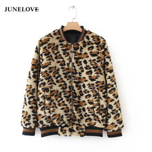 JuneLove 2019 autumn faux fur leopard coat for women casual jacket Packet female fashion coat ladies pattern outwears(China)