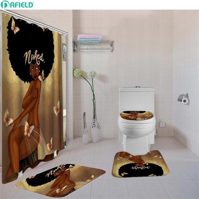 Dafield Bathroom Curtain Set Toilet Pad Cover Bath Rug Mat Fabric Shower Curtain Set for Bathroom African American Woman
