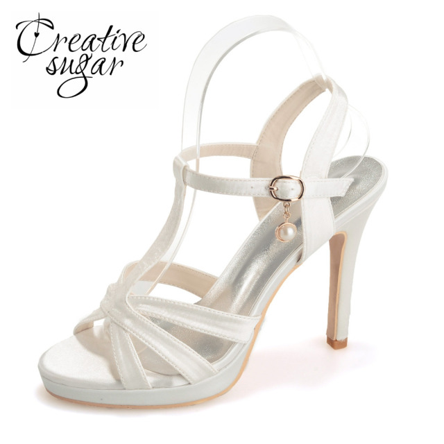 a9f5c3ea6aa Creativesugar satin T strap sandals strappy stiletto heels platform summer  satin dress shoes blue champagne white ivory black
