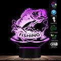 Angeln Bass Fisch 3D LED Nacht Licht Fisch Mit Angelrute Club Schläfrig Lampe Fischer Schlafzimmer Dekorative Beleuchtung Tisch Lampe