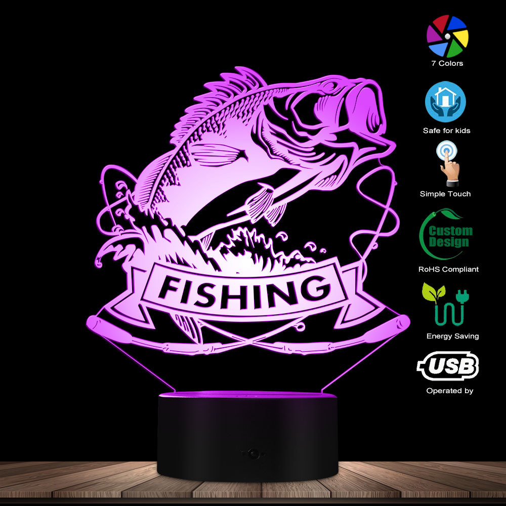 Fishing Bass Fish 3D LED Night Light Fish With Rod Fishing Club Sleepy Lamp Fisherman Bedroom Decorative Lighting Table Lamp