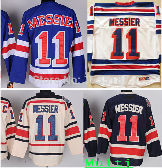 buy popular dc148 632f5 US $32.0 |Cheap New York Hockey Jerseys #11 Mark Messier Jersey Home Royal  Blue White Navy CCM Beige Cream Winter Classic Messier Jerseys-in Hockey ...