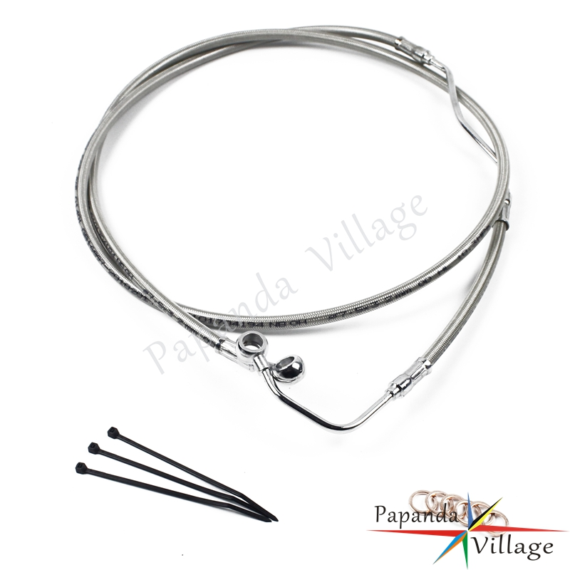 Chrome Motorcycle Upper ABS Front Brake Cable Line + 4