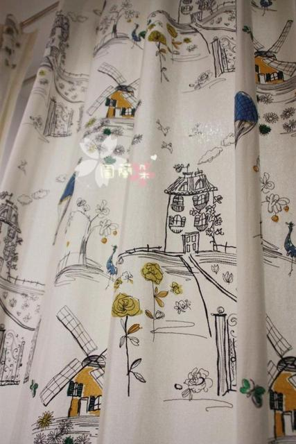 Ikea windmill hot balloon embroidered applique quality 100% cotton curtain