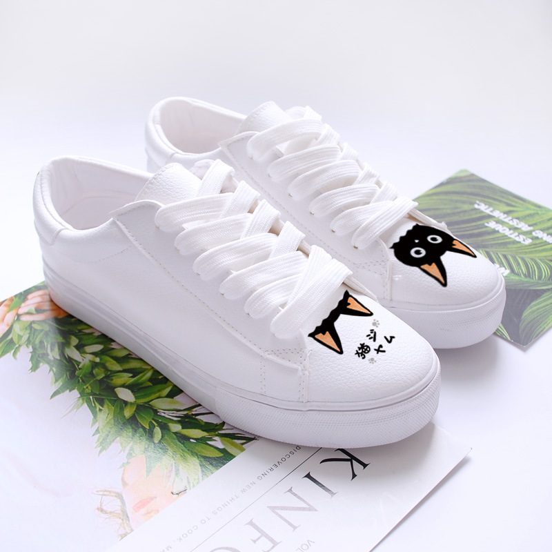 Breathable Cat Print White Shoes Woman Summer 2018 Lace up Casual Shoes Women Flat Hand Painted Trainers Ladies dagnino women flat lace up breathable trainers casual walking shoes all match white canvas shoes print woman sneakers footwear