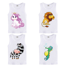 DMDM PIG Baby Cartoon T Shirt Toddler Kids Clothes Teens Sleeveless T-Shirts For Boys Girls Tops Vest 3 4 5 6 7 Year Birthday