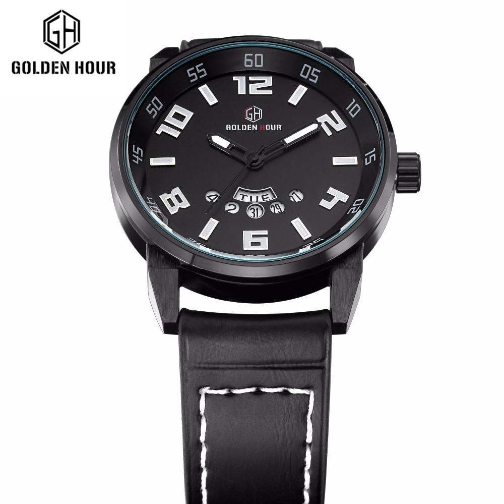 ФОТО Brand men's watch Deluxe Military Sport quartz watch watch week waterproof leather strap watch Relogio Masculino dating