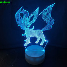 Hot Game Pokemon Leafeon 3D Table Lamp LED Touch 7 Color Change  Night Light  Home Decor Kids Gift Christmas cool creative pokemon espeon 3d lamp usb cartoon night light led 7 color touch table lamp children christmas gift hui yuan brand