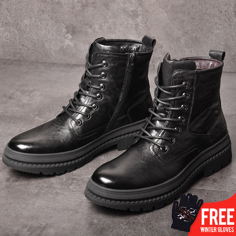 OSCO hiver en cuir véritable Martens bottes hommes chaussures noir moto bottes hommes chaussures d'hiver bottes militaires chaussures d'armée