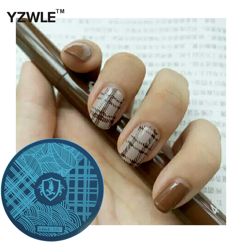 YZWLE 1 Sheet Stamping Nail Art Image Plate, 5.6cm Stainless Steel Template Polish Manicure Stencil Tools (hehe-028)