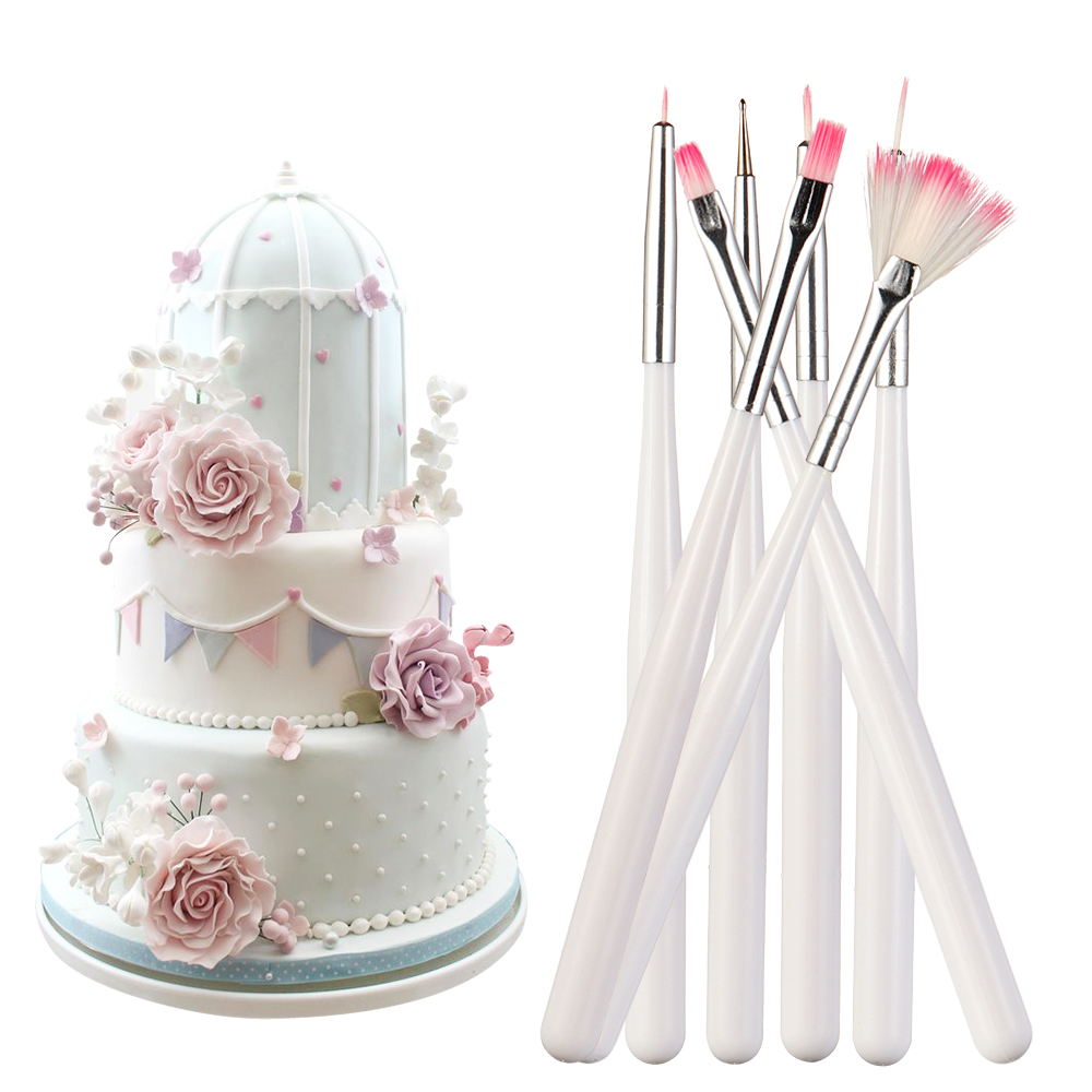7pcs/set Fondant Cake Painting Brush Decorating Painting Dusting Promotion Icing Pastry Cake Pen Brush DIY Sugar Craft Tool